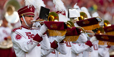 Photo of the Marching Chiefs playing at an FSU football game